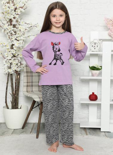 Akbeniz Pamuklu Çocuk Pijama Takımı Lila